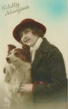 Unusual Old Border Collie Dog & Lady Postcard Pc Happy New Year France c1925