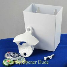 White PLAIN Combo Starr X Wall Mount Bottle Opener With Metal Catcher NEW!!!