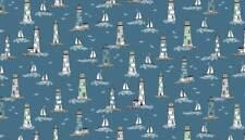 Makower Beachcomber Lighthouses 100 Cotton Fabric Fq/metre Patchwork Quilting