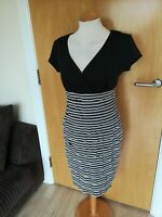 Ladies RONNI NICOLE Dress Size 12 Black Grey Wiggle Pencil Party Evening Wedding