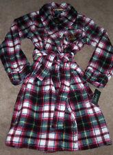 NWT Ralph Lauren Cream Plaid Cozy Spa PLUSH Kimono Wrap Robe L Red/Green/Yellow