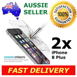 2x iPhone 8 Plus Glass Screen Protector 9H Premium Tempered Shatter Proof Apple