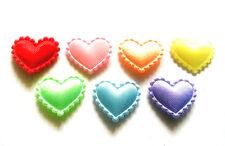 100 pcs Plain satin Heart Padded Appliques size 20 x 15 mm mix assorted colors