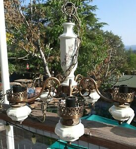 Vintage Chandelier 5 Arm  Japan  Porcelain  Hanging  Lamp Fixture Flowers