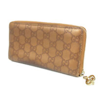 Auth GUCCI GG Guccissima Leather Round Zipper Long Bifold Wallet Purse 18489b
