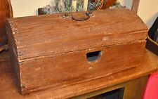 Early 1800's Antique Domed Wood Storage Blanket Box Chest Blacksmith Nails AAFA
