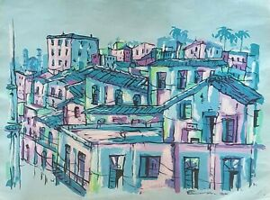 Carlos Eric Untitled Mixed on Paper 22X28 Original Painting Cuban Art 2001