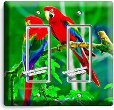 TROPICAL FOREST PARROTS LOVE BIRDS DUPLEX OUTLET WALL PLATE COVER HOME ART DECOR