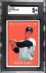 1961 Topps Baseball #478 Roger Maris, New York Yankees,  SGC 5 EX