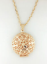 Gold Plated Victorian Filigree Round Photo Locket Pendant Necklace Gift 18' a