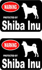 2 protected by Shiba Inu dog car bumper home window vinyl decals stickers
