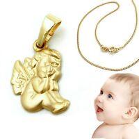 Gold 585 sitzender Handkuss Baby Kinder Kommunion Schutzengel mit Silber Kette