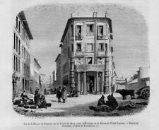 Stampa antica ROMA Trinità dei Monti Casa Poussin 1856