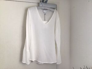 Top White Orchard Woven Splice Trim Long Flared Sleeve Loose Fit L Witchery