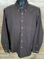 Tommy Hilfiger Button Down Shirt Brown Casual Oxford Front Pocket Cotton Size L