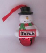 25401 SARAH NAME FROSTY SNOWMAN COLOUR BELL CHRISTMAS TREE DECORATION GIFT