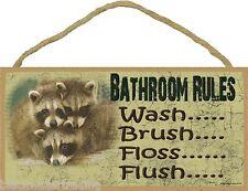 "Raccoon Bathroom Rules Wash Brush Floss Bath Sign Plaque Lodge Cabin 5""x10"""