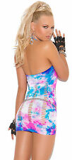 Neon tie dye mini dress with pothole detail!  One Size! Curvy Exotic Adult Woman