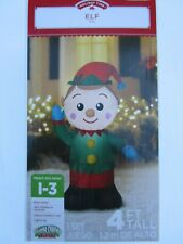 Holiday Time 4Ft Tall Elf Airblown Inflatable Outdoor Decor - New
