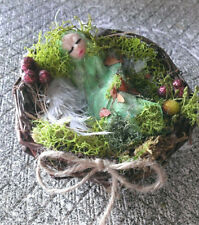 OOAK Unique Handcrafted Clay Baby cocoon nest magical fantasy Spring Easter
