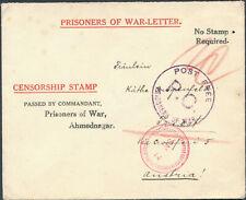 WW 1 Ahmednagar India Prisoner of War POW CAmp A Censored Cover to Austria