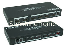 4K UHD HDMI Splitter Verteiler 4x2 Matrix Umschalter EDID 3D 4IN 2OUT #6xDC1.5m