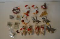 Huge Lot Vintage Felt Wooden Christmas Tree Ornament Lot Geese Teddy Bear Dove