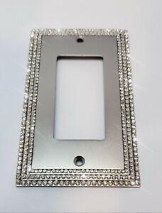 Crystal Rhinestone Decorative Toggle Rocker Wall Plate Switch Cover Satin Nickel
