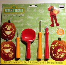 SESAME STREET PUMPKIN CARVING KIT Tool Patterns Halloween Set Big Bird Elmo NEW