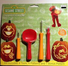 SESAME STREET PUMPKIN CARVING KIT Tool Patterns Halloween Set Big Bird Elmo NEW