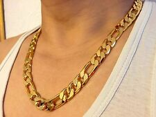 Lifetime 18K Gold Plated Chain No Stone Figaro Necklace Men's Christmas Gift