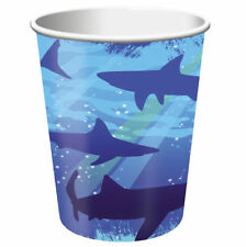 Shark Birthday Cups, Hot/Cold (266ml) Paper Pack of 8 -