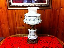 """QUOIZEL ABIGAIL ADAMS BLUE FLORAL - STAMPED 1961 - 23"""" LAMP w/ FROSTED HURRICANE"""
