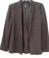 NWOT • EILEEN FISHER • Chocolate BROWN •100% Textured SILK Jacket • Sz S