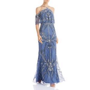Aidan Mattox Womens Blue Beaded Off-The-Shoulder Evening Dress Gown 6 BHFO 3827