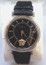 Versace Genuine Gold & Silver Black Leather Sapphire Crystals Brand New With Tag