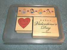 Lot Of 3 Wood Mounted Rubber Ink Stamps - Disney - Valentines - Heart - In Box