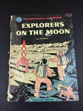 Herge Adventures of Tintin Explorers on the Moon 1st GOLDEN PRESS 1960 HC