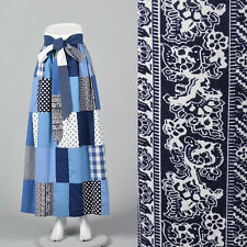 Xs 1970s Blue Quilted Maxi Skirt Bohemian Boho Hippie Separates Casual 70s Vtg