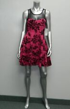TRIXXI NWT Black/Pink Embossed Mesh Neckline Sleeveless Skater Dress sz 9 $69