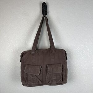 Thirty One Women Cargo Tote Purse Shoulder Bag Brown Cotton Linen Canvas Pockets