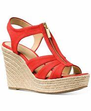 Michael Kors Women's Sandal Berkley Dark Persimmon Coral Wedge Sz 8 NEW