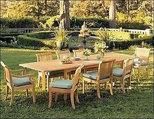 """Giva 9-pc Outdoor Teak Dining: 94"""" Rectangle Extension Table, 8 Armless Chairs"""