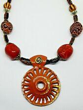 Enamel Brass Medallion - Ceramic, Carved Dragon, Brass Bead Boho Asian Necklace