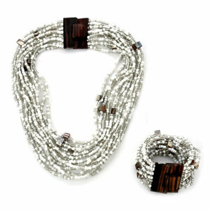 "Seed Bead Buckle Stretch Bracelet Beach Necklace Summer Jewelry Set Size 18"""