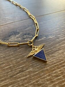 TEMPLE OF THE SUN Empire Necklace Gold Plated Sterling Silver Lapis RRP $340