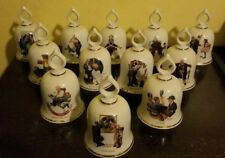 Norman Rockwell Bells Set of 12 Danbury Mint Porcelain Limited Edition 5.25 in
