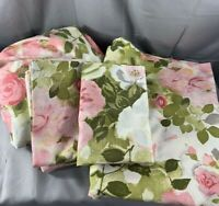 Vintage Cannon Royal Family Full Sheet Flat Pillowcase Fabric Pink Green Floral