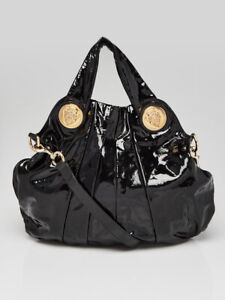 Gucci Black Patent Leather Hysteria Large Top Handle Bag