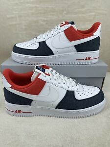 "Nike Air Force 1 '07 LX Shoes ""Denim"" White Blue Red DJ5174-100 Men's Size 10.5"
